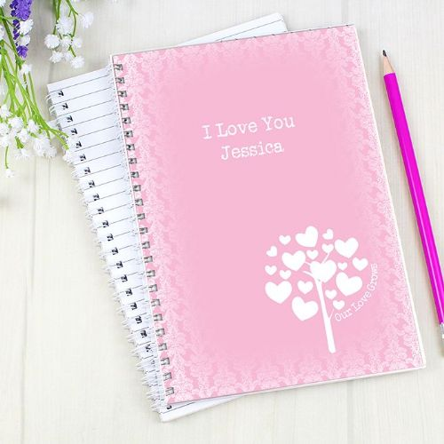 Personalised Love Grows Pink A5 Notebook